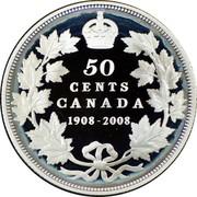 Canada 50 Cents Ottawa Mint Centennial 2008 Proof KM# 780 50 CENTS CANADA 1908-2008 coin reverse