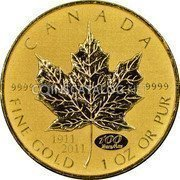 Canada 50 Dollars Gold Maple Leaf 1911-2011 KM# 1141 CANADA 9999 9999 100 Years/Ans 1911 2011 FINE GOLD 1 OZ OR PUR coin reverse