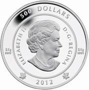 Canada 500 Dollars The Spirit of Haida Gwaii 2012 Proof KM# 1245 500 DOLLARS 5 KG 9999 5 KG 9999 ELIZABETH II D ∙ G ∙ REGINA 2012 coin obverse
