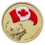 Canada 75 Dollars Olympics Athletes Pride 2007 Proof KM# 747 VANCOUVER 2010 TM/MC SA 75 DOLLARS coin reverse