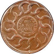 USA Cent Fugio 1787 KM# EA31.3 STATES UNITED WE ARE ONE coin reverse