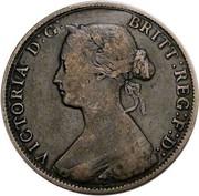 Canada Cent Victoria 1864 Short 6 KM# 6 VICTORIA D:G: BRITT: REG: F:D: coin obverse