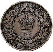 Canada Cent Victoria 1864 Short 6 KM# 6 ONE CENT NEW BRUNSWICK coin reverse