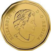 Canada Dollar Elizabeth II O Canada 2015 KM# 1849 ELIZABETH II D • G • REGINA coin obverse