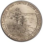 USA Five Cents Jefferson - Westward Expansion - Lewis & Clark Bicentennial 2005 P Satin Finish KM# 369 E PLURIBUS UNUM UNITED STATES OF AMERICA LEWIS & CLARK 1805 FIVE CENTS coin reverse