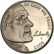 USA Five Cents Jefferson - Westward Expansion - Lewis & Clark Bicentennial 2005 S Proof KM# 368 IN GOD WE TRUST LIBERTY coin obverse