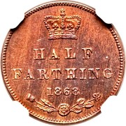 UK Half Farting Queen Victoria 1868 Proof HALF FARTING 1868 coin reverse