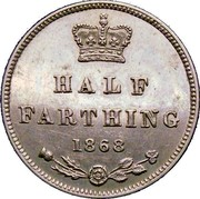 UK Half Farting Victoria 1868 Proof HALF FARTING 1868 coin reverse