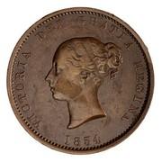 Canada Half Penny New Brunswick Token 1854 KM# 3 VICTORIA DEI GRATIA REGINA 1854 coin obverse