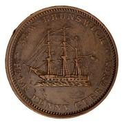 Canada Half Penny New Brunswick Token 1854 KM# 3 ∙ NEW BRUNSWICK ∙ HALF PENNY CURRENCY coin reverse