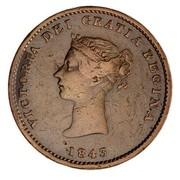 Canada Half Penny Victoria New Brunswik Token 1843 KM# 1 VICTORIA DEI GRATIA REGINA coin obverse
