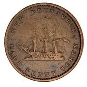 Canada Half Penny Victoria New Brunswik Token 1843 KM# 1 NEW BRUNSWICK HALF PENNY TOKEN coin reverse