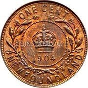 Canada Large Cent Edward VII 1904 H KM# 9 ONE CENT NEWFOUNDLAND coin reverse