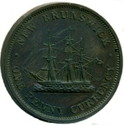Canada One Penny Currency Victoria 1854 KM# 4 ∙ NEW BRUNSWICK ∙ ONE PENNY CURRENCY coin reverse