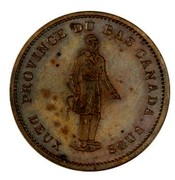 Canada One Penny Lower Canada Token 1837 KM# Tn12 PROVINCE DU BAS CANADA coin obverse