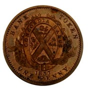 Canada One Penny Lower Canada Token 1837 KM# Tn12 BANK TOKEN CCONCORDIA SALUS BANQUE DU PEUPLE 1837 ONE PENNY coin reverse