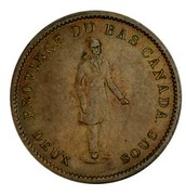 Canada One Penny People's Bank 1837 KM# Tn13 PROVINCE DU BAS CANADA DEUX SOUS coin obverse