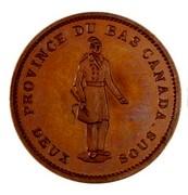 Canada One Penny Quebec Bank 1837 KM# Tn11 PROVINCE DU BAS CANADA DEUX SOUS coin obverse