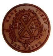Canada One Penny Quebec Bank 1837 KM# Tn11 BANK TOKEN CONCORDIA SALUS QUEBEC BANK ONE PENNY 1837 coin reverse