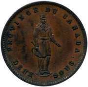Canada One Penny Quebec Bank Token 1852 KM# Tn21 PROVINCE DU CANADA DEUX SOUS coin obverse