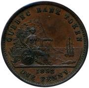 Canada One Penny Quebec Bank Token 1852 KM# Tn21 QUEBEC BANK TOKEN 1852 ONE PENNY coin reverse