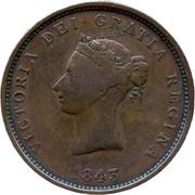 Canada One Penny Token New Brunswick 1843 KM# 2 VICTORIA DEI GRATIA REGINA 1843 coin obverse
