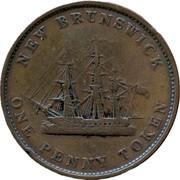 Canada One Penny Token New Brunswick 1843 KM# 2 ∙ NEW BRUNSWICK ∙ ONE PENNY TOKEN coin reverse