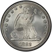 USA Quar. Dol. Seated Liberty 1882 KM# A98 LIBERTY coin obverse