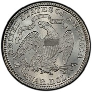 USA Quar. Dol. Seated Liberty 1882 KM# A98 UNITED STATES OF AMERICA QUAR. DOL. IN GOD WE TRUST coin reverse