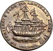 USA Rohde Yland Ship Token 1779 KM# Tn29 DE ADMIRAALS FLAG VAN ADMIRAAL HOWE 1779 VLUGTENDE coin obverse