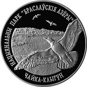 "Belarus Rouble Braslaw Lakes National Park - Herring Gull 2003 Proof KM# 55 НАЦЫЯНАЛЬНЫ ПАРК ""БРАСЛАЎСКІЯ АЗЁРЫ"" ЧАЙКА КЛЫГУН coin reverse"