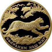 Russia Two Hundred Roubles (Southwest Asian Leopard) СОХРАНИМ НАШ МИР coin reverse