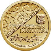 USA $1 (American Innovation Introductory Coin) UNITED STATES OF AMERICA AMERICAN INNOVATORS SIGNED FIRST PATENT coin reverse