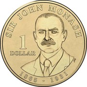 Australia 1 Dollar Sir John Monash 2018 Coincard SIR JOHN MONASH 1 DOLLAR 1865 - 1931 AB coin reverse