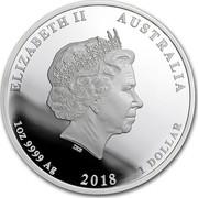 Australia 1 Dollar The End of WWI 2018 ELIZABETH II AUSTRALIA 1 OZ 9999 AG 2018 1 DOLLAR coin obverse