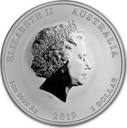 Australia 1 Dollar Year of the Pig 2019  ELIZABETH II AUSTRALIA 1 OZ 9999 SILVER 2019 1 DOLLAR IRB coin obverse