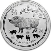 Australia 1 Dollar Year of the Pig 2019  YEAR OF THE PIG P AH coin reverse