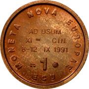 UK 1 ECU Nova Europae 1991 MONETA NOVA EUROPAE AD USUM XI C.I.N. 8-12 IX 1991 1 ECU coin reverse