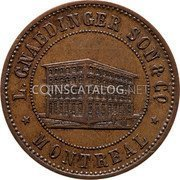 Canada 1 Penny L. Gnaedinger son & CO Montreal token 1852 L.GNAEDINGER SON & CO MONTREAL coin obverse