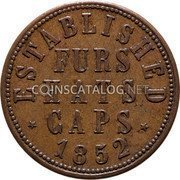 Canada 1 Penny L. Gnaedinger son & CO Montreal token 1852 FURS HATS CUPS ESTABLISHED 1852 coin reverse