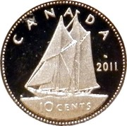 Canada 10 Cents Bluenose sailing 2004 Proof KM# 492a CANADA 10 CENTS coin reverse