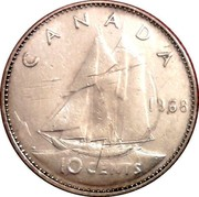 Canada 10 Cents Bluenose sailing Ottawa mint 1968 KM# 72 10 CENTS CANADA 1968 H coin reverse