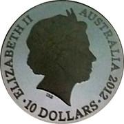 Australia 10 Dollars Lucky Dragon 2012 Prooflike ELIZABETH II AUSTRALIA 2012 10 DOLLARS coin obverse