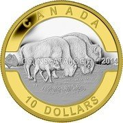 Canada 10 Dollars O Canada Bison 2014 CANADA 2014 10 DOLLARS TT coin reverse