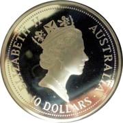 Australia 10 Dollars The Australian Kookaburra 1991 KM# 161 ELIZABETH II AUSTRALIA 10 DOLLARS RDM coin obverse