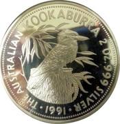 Australia 10 Dollars The Australian Kookaburra 1991 KM# 161 THE AUSTRALIAN KOOKABURRA 2 OZ. 999 SILVER *YEAR* coin reverse