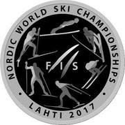 Belarus 10 Roubles Nordic World Ski Championships 2017.Lahti 2017 Proof NORDIC WORLD SKI CHAMPIONSHIP FIS LAHTI 2017 coin reverse