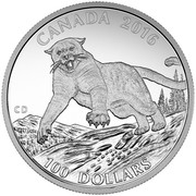 Canada 100 Dollars Cougar 2016 Matte Proof KM# 2239 CANADA 2016 CD 100 DOLLARS coin reverse