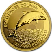 Australia 100 Dollars Dolphin 2019 BOTTLENOSE DOLPHIN 1 OZ .9999 FINE GOLD coin reverse