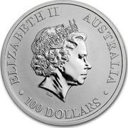Australia 100 Dollars Kangaroo BU 2019 ELIZABETH II AUSTRALIA • 100 DOLLARS • IRB coin obverse